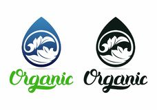 Foglia nel logo della curva della natura di goccia Immagini Stock Libere da Diritti