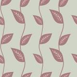 Foglia porpora sull'illustrazione senza cuciture del modello del fondo grigio Fotografia Stock