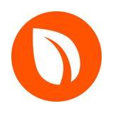 Foglia stilizzata - simbolo di valuta cripto digitale Peercoin, icona rotonda monocromatica, stile piano Immagine Stock Libera da Diritti