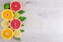 Foglia succosa della menta del fondo del taglio degli agrumi Arance, limoni, calce, pompelmo, foglie di menta su un fondo di legn Immagini Stock