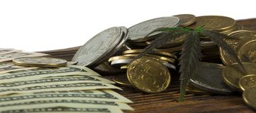 Foglia verde della cannabis, marijuana, Ganja, canapa su Bill 100 dollari americani Concetto di affari Foglia e dollaro della can Immagini Stock Libere da Diritti