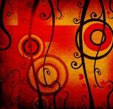 Fogliame, cuori rossi e cerchi, disegno del grunge Fotografie Stock