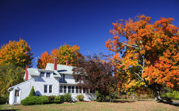 Fogliame di caduta coloniale della Nuova Inghilterra della casa dell'azienda agricola fotografia stock