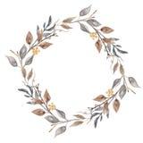 Fogliame di Garland Wedding Leaves Hand Painted della corona della foglia del terreno boscoso dell'acquerello Royalty Illustrazione gratis