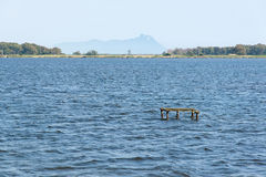 Fogliano Lake with views of San Felice Circeo Royalty Free Stock Photo