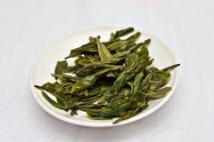 Foglie bagnate del tè verde Immagine Stock