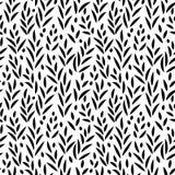 Foglie in bianco e nero modello senza cuciture, vettore Immagini Stock Libere da Diritti