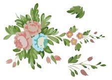 foglie blu dei fiori dei fiori rosa di clipart Fotografie Stock