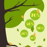 Foglie cadenti della carta di vendita di autunno di Infographics da un albero Fotografia Stock Libera da Diritti
