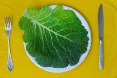 Foglie del cavolo su un piatto Coltello e forcella su fondo giallo Fotografia Stock Libera da Diritti