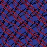 Foglie del nero e di rosso sul modello senza cuciture blu Fotografia Stock Libera da Diritti