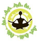 Foglie dell'icona di yoga Fotografia Stock Libera da Diritti