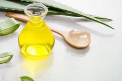 Foglie dell'olio essenziale e dell'aloe di vera dell'aloe su un fondo bianco Fotografia Stock Libera da Diritti