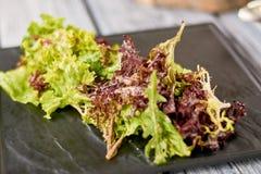 Foglie della fine fresca dell'insalata mista su Immagine Stock