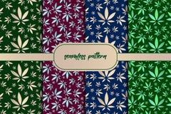 Foglie della marijuana Metta del fondo senza cuciture delle foglie d'avanguardia verdi Modello senza cuciture degli alberi forest illustrazione di stock