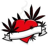 Foglie della marijuana su cuore e sull'insegna Immagine Stock Libera da Diritti