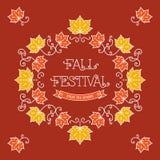 Foglie di acero variopinte della pagina del modello di festival di caduta Immagine Stock