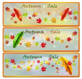 Foglie di Autumn Sale Banners With Colorful illustrazione vettoriale