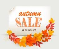 Foglie di Autumn Sales Card With Colorful illustrazione di stock