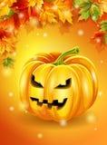 Foglie di autunno arancio del fondo di Halloween, carattere della zucca Illustrazione di vettore Fotografia Stock