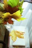Foglie di autunno in barattolo di vetro Fotografia Stock Libera da Diritti