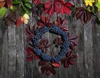 Foglie di autunno dell'uva e delle bacche selvatiche su vecchio fondo incrinato di legno Fotografie Stock
