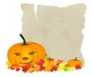 Foglie di autunno della zucca di Halloween Fotografia Stock