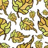 Foglie di autunno senza cuciture del modello sul campo bianco illustrazione di stock