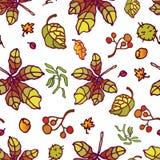 Foglie di autunno senza cuciture disegnate a mano del modello royalty illustrazione gratis