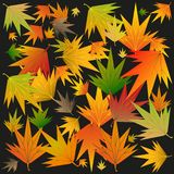 Foglie di autunno su un fondo nero illustrazione vettoriale