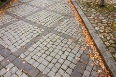 Foglie di autunno sul passaggio pedonale nel vecchio distretto del museo di Kouvola, Finlandia fotografie stock