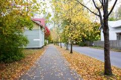 Foglie di autunno sul passaggio pedonale nel vecchio distretto del museo di Kouvola, Finlandia Fotografia Stock Libera da Diritti