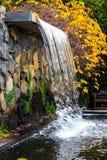 Foglie di caduta di autunno dello stagno della cascata del giardino Fotografia Stock