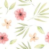 Foglie di Coral Floral Seamless Pattern Arrangement della pesca dei fiori dell'acquerello Immagine Stock Libera da Diritti