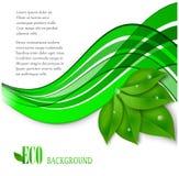 Foglie di eco di vettore ed onda verde royalty illustrazione gratis