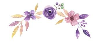 Foglie di nozze della corona della foglia dell'arco di Garland Summer Spring Purple Pink dell'acquerello Immagine Stock Libera da Diritti