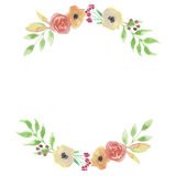Foglie di nozze della corona della foglia di Garland Summer Spring Peach Arch dell'acquerello Fotografia Stock
