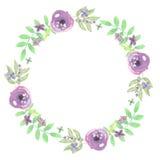 Foglie di nozze della corona di Garland Summer Spring Purple Leaf dell'acquerello Fotografia Stock