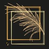 Foglie di palma e struttura lussuosa nel colore dell'oro Illustrazione tropicale del fiore su fondo nero royalty illustrazione gratis