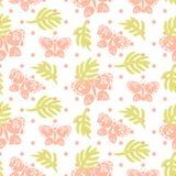 Foglie di palma rosa e modello senza cuciture di vettore delle farfalle illustrazione di stock
