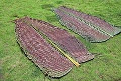 Foglie di palma tessute della noce di cocco Fotografie Stock