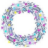 Foglie di palma tropicali, corona del fogliame, struttura rotonda, bacche al neon multicolori Fotografia Stock