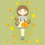 Foglie di simboli di Autumn Girl Holding Pumpkin Fall Fotografie Stock Libere da Diritti