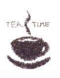 Foglie di tè nere asciutte Fotografie Stock Libere da Diritti