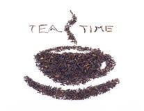 Foglie di tè nere asciutte Immagine Stock