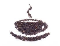 Foglie di tè nere asciutte Fotografie Stock