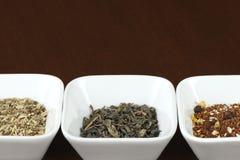Foglie di tè in piatti quadrati, spazio per testo Fotografie Stock