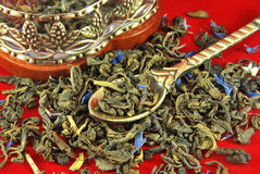 Foglie di tè verdi Fotografie Stock