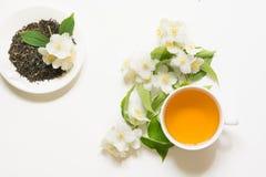Foglie di tè verdi asciutte del gelsomino con i fiori del gelsomino e la tazza freschi di tè su fondo bianco Fotografia Stock