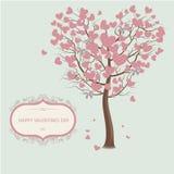 Foglie di un albero sotto forma di cuori Giorno del `s del biglietto di S royalty illustrazione gratis